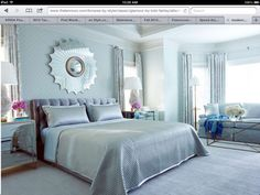 GORGEOUS, so peaceful! modern bedroom decor, patterns and bedroom colors Silver Bedroom, Glam Bedroom, Master Bedroom, Bedroom Decor, Bedroom Ideas, Bedroom Designs, Peach Bedroom, Mirrored Bedroom, Serene Bedroom