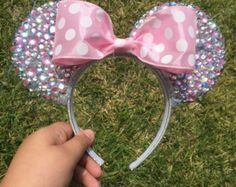 Bedazzled Royal Blue Minnie Mouse Ears by MouseketeerEars on Etsy