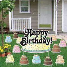 Birthday Yard Cards - Happy Birthday Greetings w/Birthday Cakes Yard ...