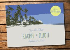 A retro-style beach illustration save the date is perfect for a tropical wedding. Contact us if youd like a full package created!  A custom