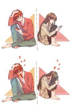 mystic messenger, luciel choi, saeyoung choi x MC Manga Couple, Anime Love Couple, Anime Couples Manga, Couple Art, Cute Anime Couples, Manga Anime, Mystic Messenger Fanart, Mystic Messenger Comic, Luciel Choi