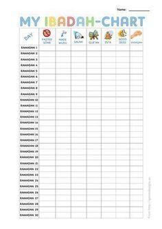 free printable ibadah chart for ramadan children . - My CMS - free printable ibadah chart for ramadan children … – - Ramadan Cards, Islam Ramadan, Ramadan Gifts, Ramadan Mubarak, Full Energy, Fest Des Fastenbrechens, Islam For Kids, Ramadan For Kids, Home