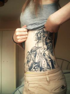 zombie.. zombie attaaack. - i just cannot imagine someone actually being inspired to get any zombie related tattoo, let alone one covering half their mid-drif...i LOVE tattoos, but i just dont get it!