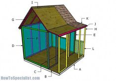 This step by step woodworking project is about free outdoor playhouse plans. I have designed this playhouse with porch, so you can put a smile on your kids faces. Kids Playhouse Plans, Outside Playhouse, Playhouse Kits, Build A Playhouse, Playhouse Outdoor, Wooden Playhouse, Outdoor Sheds, Childrens Playhouse, Simple Playhouse