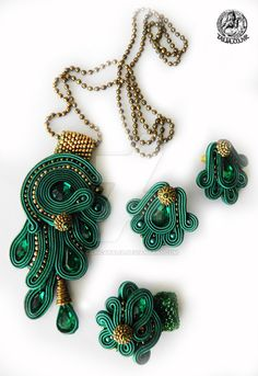 Green soutache set of pendant, earrings and ring by caricatalia.deviantart.com on @DeviantArt