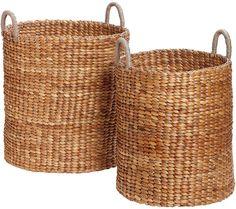 Hübsch Tall Woven Baskets Set Of 2 Natural
