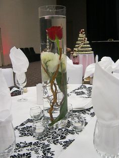 Centerpiece , Black and White Wedding
