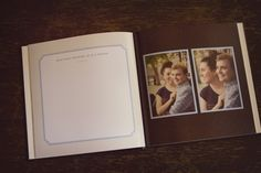 Make a photo book using your engagement photos and include blank pages, some with questions, where guests can write well-wishes or answer questions about the couple. Make A Photo Book, Photo Guest Book, Wedding Stationery, Wedding Planner, Wedding Invitations, Wedding Guest Book Alternatives, Wedding Ideas, Wedding Blog, Wedding Stuff