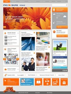 INGBank - Turuncunet Great use of colour, but this looks like a dummy design. Real content alters a design. Simple Web Design, Creative Web Design, Web Design Tips, Web Design Trends, Design Strategy, Site Design, Web Design Inspiration, Layout Design, Sharepoint Design