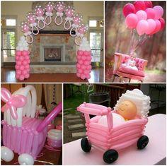 decoracion para baby shower de niña con globos