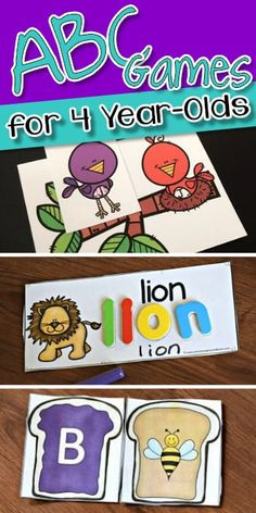 ABC Games for - kids will have fun learning their alphabet letters with these super cute, free printable alphabet games for toddler, preschool, prek, and kindergarten age kids Alphabet Games For Kindergarten, Alphabet Learning Games, Fun Learning Games, Learning Games For Kids, Abc For Kids, Preschool Games, Games For Toddlers, Alphabet Activities, Preschool Learning