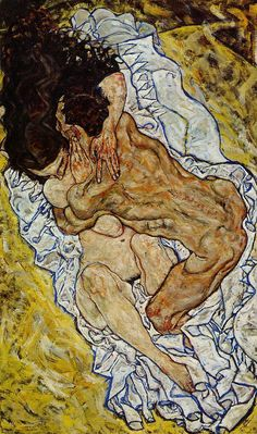 Painting by Egon Schiele (1890-1918), 1917, The embrace.