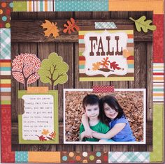 like the idea of cutting the wood patterned paper and adding a piece the opposite way across the top  Simple Stories - Harvest Lane layout - Rebecca Keppel