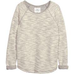 H&M Sweatshirt in slub yarn (105 BRL) ❤ liked on Polyvore featuring tops, hoodies, sweatshirts, sweaters, shirts, grey, h&m tops, grey shirt, gray long sleeve shirt and h&m shirts