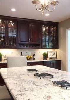 Bianco Romano Granite Countertops Dark Kitchen Cabinets Contemporary  Kitchen Design Ideas