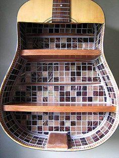 Guitar Shelves 17 Amazing DIY Projects Using Music Guitar Art Diy, Guitar Crafts, Diy Bookshelf Plans, Ladder Shelf Diy, Bookshelf Styling, Broken Guitar, Guitar Shelf, Music Decor, Home And Deco
