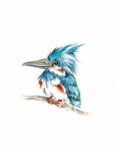 8x10 ORIGINAL KINGFISHER detailed painting от EcoProduct на Etsy