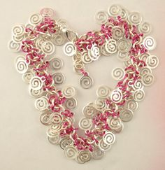 Fuchsia Pink and Silver Spiral Shaggy Beaded Bracelet - A fun way to wear your favorite color or match your prom dress or great bridesmaids gifts!