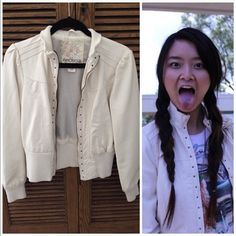Studded Faux Leather Jacket Only worn a few times. Adds a new meaning to winter whites! Arden B Jackets & Coats