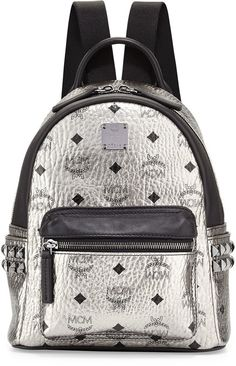 MCM Stark Side Stud Mini Backpack, Silver