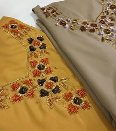 Embroidery On Kurtis, Kurti Embroidery Design, Hand Embroidery Dress, Embroidery Neck Designs, Bead Embroidery Patterns, Embroidery On Clothes, Embroidery Fashion, Beaded Embroidery, How To Tie Shoes