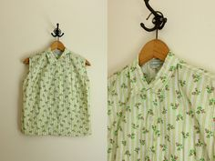 1960s Blouse  Sleeveless Blouse  Floral Top  by AllengroveVintage, $22.00