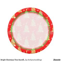 Bright Christmas Tree Snowflakes Red Paper Plate