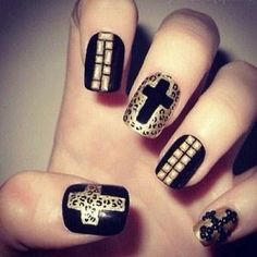 For that trending Rock'n Roll look, here's the perfect nails? They've got the studs and the leapard and I just LUV it!!!