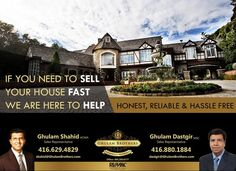 Sell your #property quickly. Contact Us . Ghulam Shahid* & Ghulam Dastgir *Sales Representatives Mobile: 416-629-4829 OR 416 880 1884 gshahid@trebnet.com, dastgir@gmail.com Sell Your House Fast, Selling Your House, Sales Representative, Real Estate, Things To Sell, Real Estates