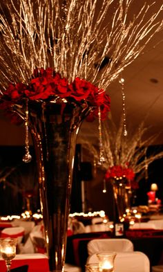 gold branches, roses, hanging jewels  for a red carpet, Hollywood diva themed wedding
