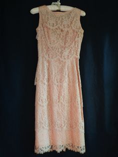 1950's  Dress cocktail wiggle pink lace Alfred by vintagewayoflife