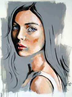 "Saatchi Art Artist Petra Kaindel; Painting, ""Ragazza con maglia bianca #Art #Painting #Woman  #face"