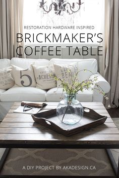 DIY Brickmaker's Coffee table. Inspired by Restoration Hardware's expensive version, this DIY is cheap and super easy to make.