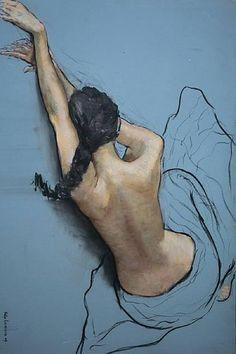 Alleen het lichaam van de vrouw is uitgewerkt in dit schilderij. Hierdoor wordt benadrukt dat je naar een illusie kijkt, dat het geschilderd is en niet echt ruimtelijk is.