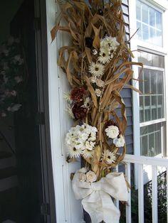 Fall wedding arbor,  cornstalks