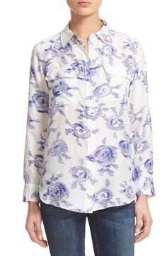 EQUIPMENT 'Slim Signature' Print Silk Shirt. #equipment #cloth #