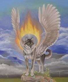Simargl- Slavic myth: a god with the body of a wolf that has wings.