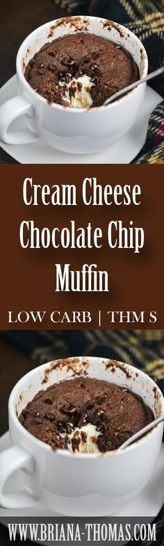 This Cream Cheese Chocolate Chip Muffin is my new favorite snack/dessert! Watch for a full-size version soon! THM:S, low carb, sugar free, gluten/nut free (low carb breakfast crockpot recipes)