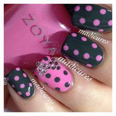 Polka dots and crystal bow!!  used @zoyanailpolish Sweet and Evvie  @madicures