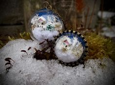 Mini snow globes - necklace and ring (terrarium jewelry)