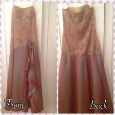 Unique Multicolored prom dress Gorgeous and unique dress. Bought in downtown LA. Only worn once. Spaghetti strap and beaded bodice. There's a little sheer opening between breasts. Bottom of dress is flowy and has a rouging opening to underneath of dress. There is a flower on the dress but it can be removed. Matching Scarf also comes with the dress details shown in picture. Tag on dress says medium but it fits more like a size 10. Dresses Prom