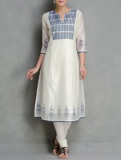 Blue-Ivory Block Printed Chanderi Kurta With Lining Set of 2 by Kora Salwar Designs, Kurti Neck Designs, Kurta Designs Women, Blouse Designs, Dress Indian Style, Indian Outfits, Indian Wear, Indian Attire, Indian Dresses