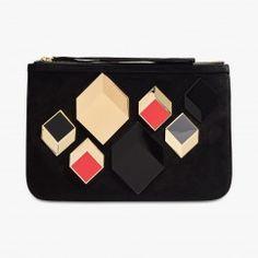 Pochette en cuir velours Cube - PIERRE HARDY #LeBonMarche #VuAuBonMarche #Tendance #Graphique #Trend #Women #Femmes #AH2016 #AW2016 #Look