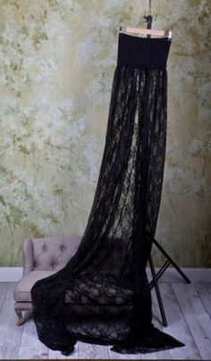Handmade Maternity Gown FOR Photography ONE Size Fits Most Black Lace   eBay