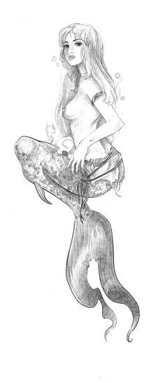 mermaid-I'd like this level of detail but instead have her reaching up towards the surface