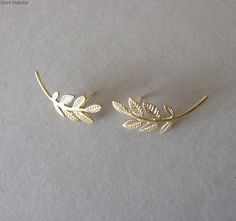Solid Gold Stud Earrings ear climbers by shirliclassicjewelry Leaf Earrings, Stud Earrings, Climbing Earrings, Solid Gold, White Gold, Climbers, Gold Studs, Opal, Gifts For Her
