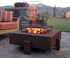 According to Elle Decor, this is a new, steel-crafted, wood-burning firepit / fireplace model.  #fire #firepit