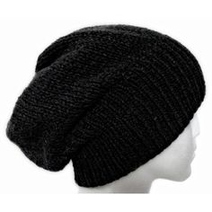 100% CASHMERE slouchy beanie hat black dark grey navy blue hand knit... ($100) ❤ liked on Polyvore