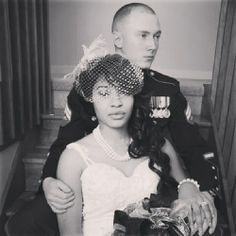 The Scoblic's New Years Eve Wedding. Gorgeous interracial military couple #love #wmbw #bwwm