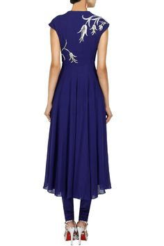 Royal blue tulips embroidered anarkali set available only at Pernia's Pop-Up Shop.